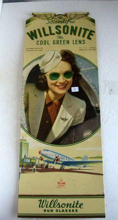 "Antique ""Airplane Sunglass Advertising Sign Wilsonite Sunglasses Reading PA ""   eBay"
