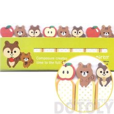 Chipmunk Squirrels and Apples Shaped Sticky Memo Post-it Index Bookmark Tabs | Animal Themed Stationery