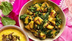 Pro milovníky orientálních chutí tady máme tradiční indický vegetariánský pokrm. Brambory a špenát, voňavé kořeněné...