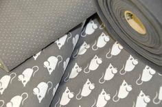 Stoff Tiermotive - Jersey Kombi *°*grau°weiße Punkte*°* Bio - ein Designerstück von krAwalleuleDIY bei DaWanda