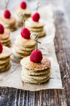 GF Mini Lemon Poppy Seed Pancakes with Lemon Yogurt + Goat Cheese Sauce | edibleperspective.com