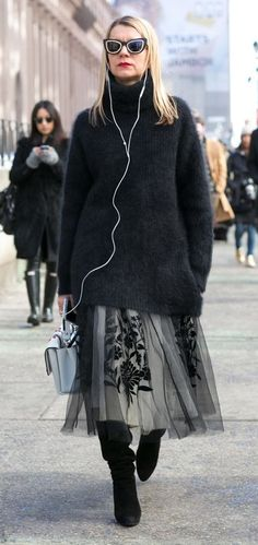 fall winter outfit. #streetstyle tulle skirt.