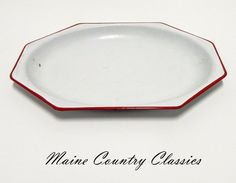 Vintage ENAMELWARE PLATTER White with Red Trim