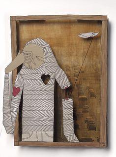 The Born Again Bird-Watcher, Know Hope Cardboard Art, Art Corner, Ap Art, Recycled Art, Art Journal Inspiration, Collage Art, Collages, Cute Illustration, Light Art