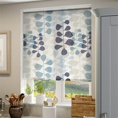 Blooming Meadow Blue Roller Blind Blue Roller Blinds, Blue Roman Blinds, Winter Leaves, Kitchen Blinds, Blinds For Windows, Simple Colors, Valance Curtains, Family Room, Bloom