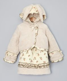 This boutique-worthy set knows a thing or two about classic style. With a super sweet floral-trim jacket plus a coordinating dress, this ensemble ensures the little glamour girl can still shine brightly in chilly weather.Includes dress and jacket100% cottonMachine washImported