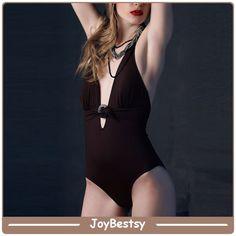 7a6cf33a30a1 Joybestsy Deep V Halter marrone collo modesti costumi da bagno. Deep,  Halter Neck,