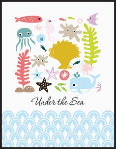 Nursery Art Print - Set of four prints Whale, Octopus, Seahorse under the sea - Free Shipping. $19.99, via Etsy.