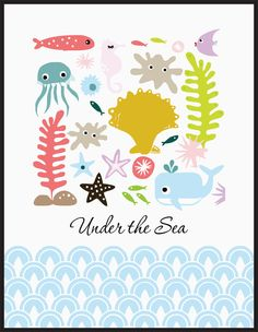Nursery Art Print - Set of four prints Whale, Octopus, Seahorse under the sea - Free Shipping. $19.99, via Etsy.
