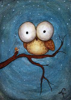 Little Owl and Snail by linmh.deviantart.com on @deviantART