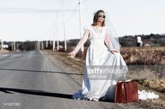 New Bride Leaving Town Quickly Stock Photo   Getty Images