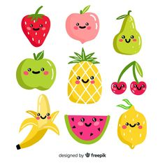 Discover thousands of copyright-free vectors. Graphic resources for personal and commercial use. Thousands of new files uploaded daily. Kawaii Sushi, Fruits Kawaii, Food Cartoon, Cute Cartoon, Kreative Jobs, Kawaii 365, Fruit Clipart, Kawaii Faces, Fruit Illustration