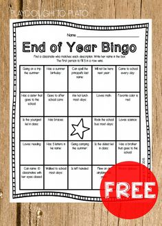 End of the Year Bingo for Kids! Fun end of the year activity for kids of all ages. Who has a sister who goes to this school? Who loves reading?