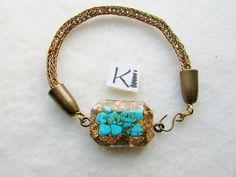 Viking Knit  Turquoise Orgone Bracelet Antique Brass Viking Weave Respiratory System Stress reduction Wire Wrapped Earrings, Wire Earrings, Wire Wrapped Pendant, Wire Jewelry, Handmade Jewelry, Clear Quartz, Quartz Crystal, Viking Knit, Respiratory System