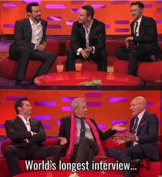 I like the fact that Hugh Jackman/Wolverine hasn't seemed to age at all compared to Magneto & Professor x Dc Memes, Funny Memes, Hilarious, Hugh Jackman, Hugh Wolverine, Cw Series, Film Serie, Stucky, Comic Art
