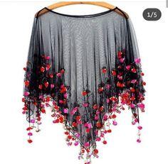 It's Raining Roses Fringe Beaded Sheer Poncho // Boho Romance in Coachella Tiny Rosettes Cape - moda Poncho Coat, Cape Coat, Beaded Fringe Shirt, Beaded Cape, Cape Dress, Indian Designer Wear, Blouse Designs, Designer Dresses, Designer Shoes