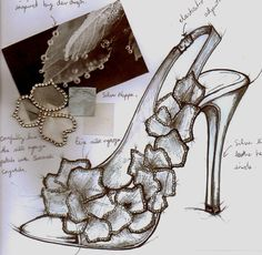 Fashion Sketchbook - footwear design drawing & fabric swatches; shoe sketch; fashion design process