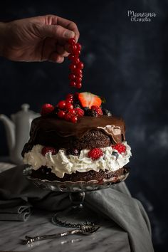 black forest cake with red berries Baking Recipes, Cake Recipes, French Sweets, Black Forest Cake, Plum Cake, Desert Recipes, Cupcake Cookies, Mini Cakes, Chocolate Cake