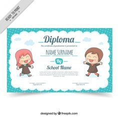 School diploma with lovely children Free Vector