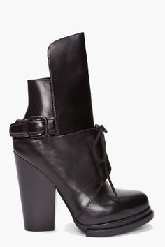 ALEXANDER WANG // Leonie Leather Booties Heeled polished leather booties in black