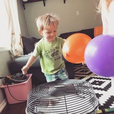 When you turn three and all you really need are balloons, a fan and a few good friends. #thebabyisthree #birthdayboy