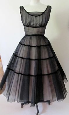 Vintage 1950s Black and Pink Tulle Dress Best dresses ever made were from the 50's.