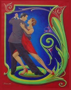 The classic Tango, depicted with the art of Fileteado