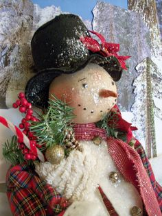 Primitive snowman doll~Pattern~27 inches tall~Christmas & Winter display~by Dumplinragamuffin
