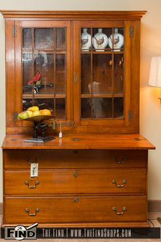 Found at The Find Today! Finely Handcrafted Step Back Hutch is constructed of solid wood and in great condition. Hutch will make an attractive addition to your dining room or kitchen while providing additional storage and display space. Stop in today to see this piece and many unique and rare Finds at the Find. The …