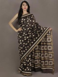 Brown Black Ivory Hand Block Printed Kalamkari Chanderi Silk Saree With Ghicha Border - S031701150