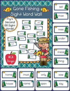 My Gone Fishing sight word wall posters feature Fry's Second 100 words. 55 pages of sight words accented with bright colors and fishing graphics!