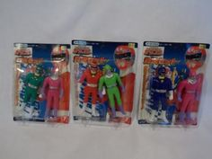 Power-Rangers-Carranger-Blue-Red-Green-Pink-Combatant-Wumper-RARE-YUTAKA-LOT