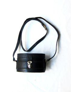 Vintage 1970s boho black stitched leather oval bandbox by evaelena, $33.00