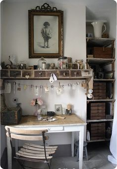 love the idea to hang pictures, etc from a draped string. Shelves in nook!
