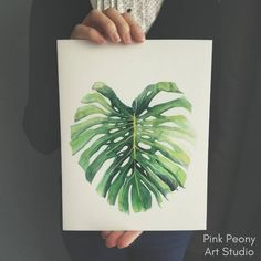 Pink Peony watercolor paintings and art prints. Watercolor flowers and plants #monstera #monsteradeliciosa #artprint
