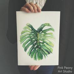 Pink Peony watercolor paintings and art prints. Watercolor flowers and plants #monstera #monsteradeliciosa #artprint