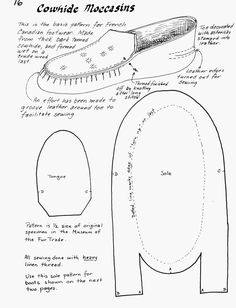Years ago, when I was involved in the Great Lakes Fur trade I became very fond of my heavy cowhide moccasins. This type of moccasin was made in Montreal for use by the voyageurs. The cordonnier…free moccasin pattern more diy shoes moccasins pin good ide Sewing Hacks, Sewing Tutorials, Sewing Crafts, Clothing Patterns, Sewing Patterns, Native American Moccasins, Fur Trade, Shoe Pattern, Leather Pattern