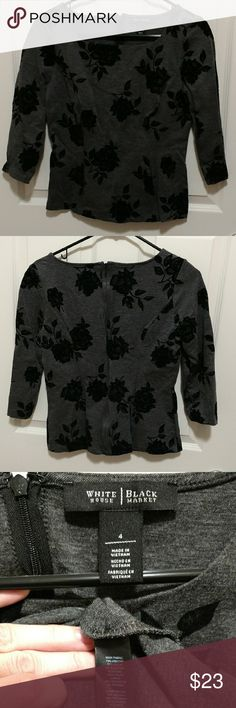 WHBM Square neck floral blouse Gray 3/4 sleeve top with a rounded square neckline, princess seams, and a full zip back. Floral design is a little velvety. Material is fairly thick and has moderate stretch. Fits like a 4, maybe 6.  Perfect with a chiffon maxi or velvet mini skirt. White House Black Market Tops Blouses