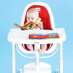Seat your baby in a high chair, and give him an easy-to-clean board book to look at while you make lunch or wash the dishes.