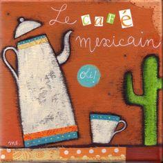 """""""Le café Mexicain"""" illustration réalisée sur toile 20x20 cm à l'acrylique avec collages de tissus et de papiers."""