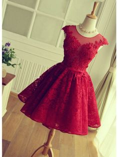 RED LACE-UP KEY HOLE BACK SHORT HOMECOMING DRESS