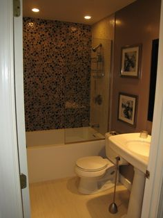 "Small But Spa-Like Oasis, Like my zen master bath, this was the typical 80s ""white cabinet, brown trim."" The space is small but I was able to install a soaking tub/shower combo with glass tile and pedestal sink to create a spa-like feel and make the room seem more spacious., Bathrooms Design"