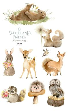 Animals Watercolor, Watercolor Clipart, Watercolor Art, Illustration Mignonne, Cute Illustration, Woodland Illustration, Forest Animals, Woodland Animals, Baby Animals