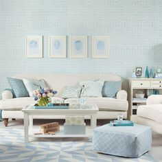 Duck Egg Living Room Ideas All Over Patttern Blue Decor