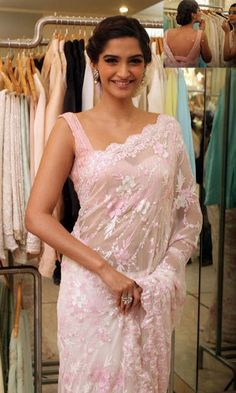 Sonam Kapoor in pretty baby pink chiffon saree