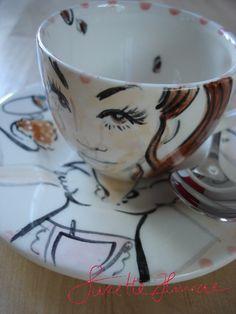 Espresso Cup handpainted by SuzetteHuwae. *SuzetteHuwae Collection.