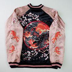 Japanese Vintage Script Salmon Pink Blue Goldfish Sakura Cherry Blossoms Art Embroidery Embroidered Satin Souvenir Sukajan Jacket - Japan Lover Me Store
