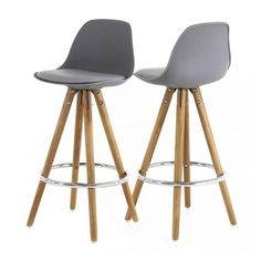 Lot De 2 Chaises Hautes Grises Collection Popsy