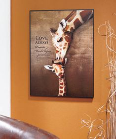 """Beautiful image coupled with a meaningful quote Giraffe: """"Love always protects, trusts, hopes, perseveres."""" I Corinthians 13:7"""
