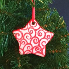 Ceramic Ornament Red Ornament Porcelain от AllisonGlickCeramics